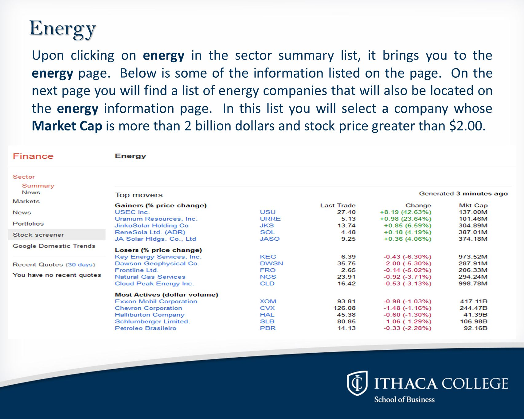Energy Upon clicking on energy in the sector summary list, it brings you to the energy page.