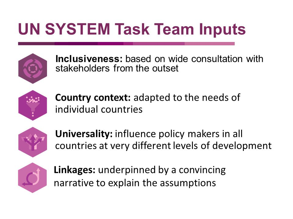 Inclusiveness: based on wide consultation with stakeholders from the outset UN SYSTEM Task Team Inputs Country context: adapted to the needs of individual countries Universality: influence policy makers in all countries at very different levels of development Linkages: underpinned by a convincing narrative to explain the assumptions