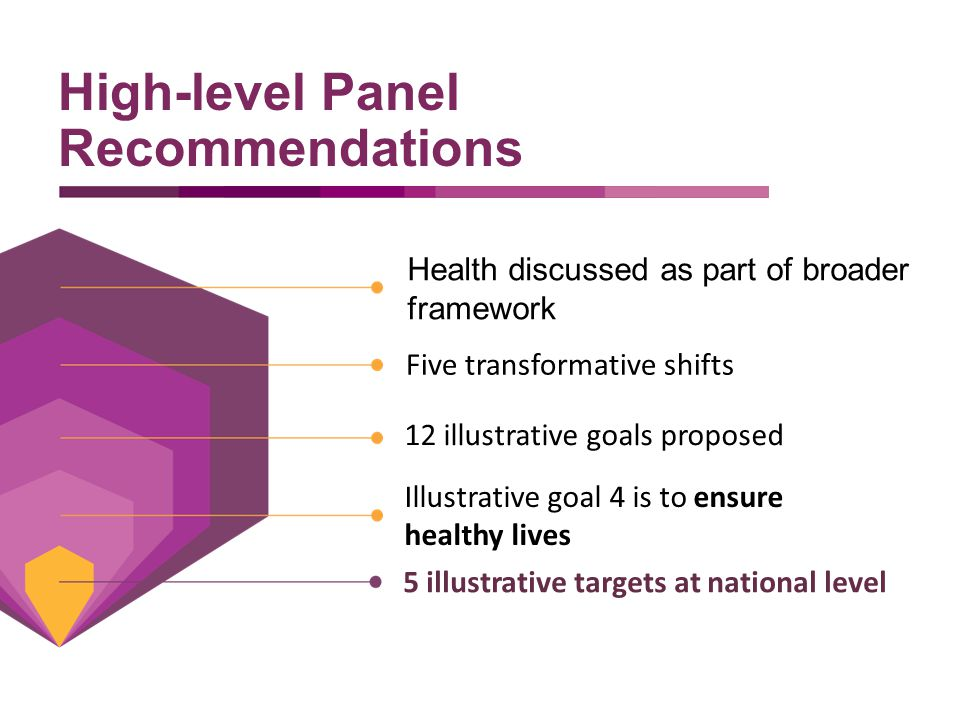 Health discussed as part of broader framework High-level Panel Recommendations Five transformative shifts 12 illustrative goals proposed Illustrative goal 4 is to ensure healthy lives 5 illustrative targets at national level
