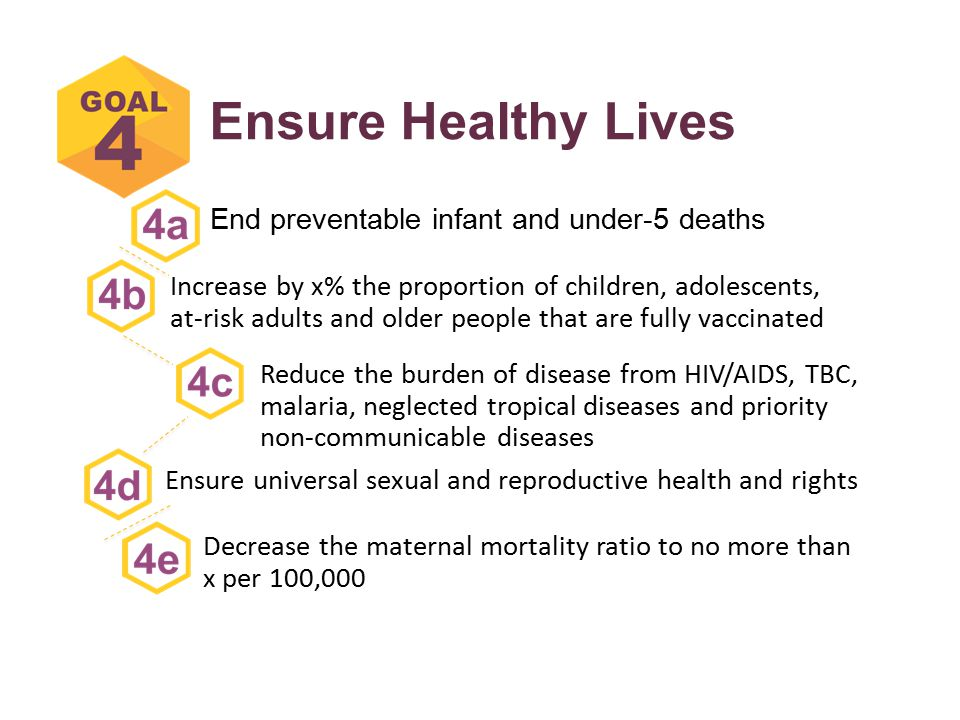 Ensure Healthy Lives End preventable infant and under-5 deaths Reduce the burden of disease from HIV/AIDS, TBC, malaria, neglected tropical diseases and priority non-communicable diseases Increase by x% the proportion of children, adolescents, at-risk adults and older people that are fully vaccinated Decrease the maternal mortality ratio to no more than x per 100,000 Ensure universal sexual and reproductive health and rights