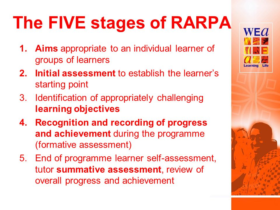 The FIVE stages of RARPA 1.Aims appropriate to an individual learner of groups of learners 2.Initial assessment to establish the learner's starting point 3.Identification of appropriately challenging learning objectives 4.Recognition and recording of progress and achievement during the programme (formative assessment) 5.End of programme learner self-assessment, tutor summative assessment, review of overall progress and achievement