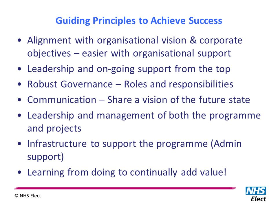 Guiding Principles to Achieve Success Alignment with organisational vision & corporate objectives – easier with organisational support Leadership and on-going support from the top Robust Governance – Roles and responsibilities Communication – Share a vision of the future state Leadership and management of both the programme and projects Infrastructure to support the programme (Admin support) Learning from doing to continually add value!