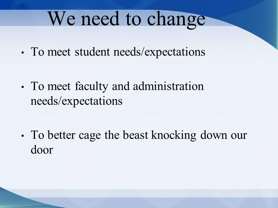We need to change To meet student needs/expectations To meet faculty and administration needs/expectations To better cage the beast knocking down our door