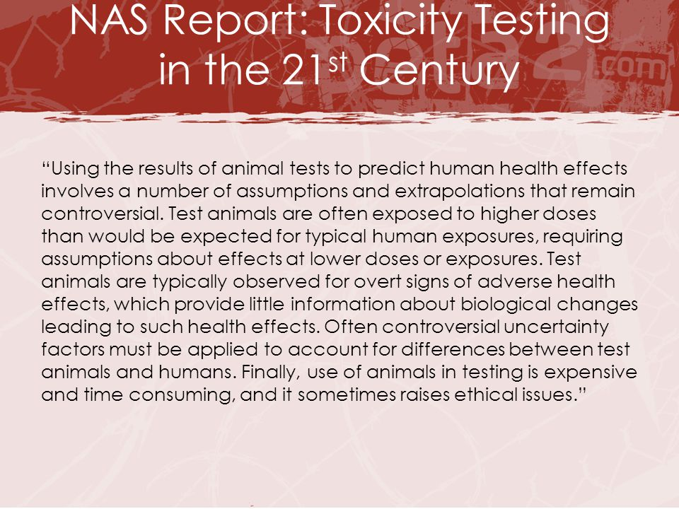 "NAS Report: Toxicity Testing in the 21 st Century ""Using the results of animal tests to predict human health effects involves a number of assumptions"