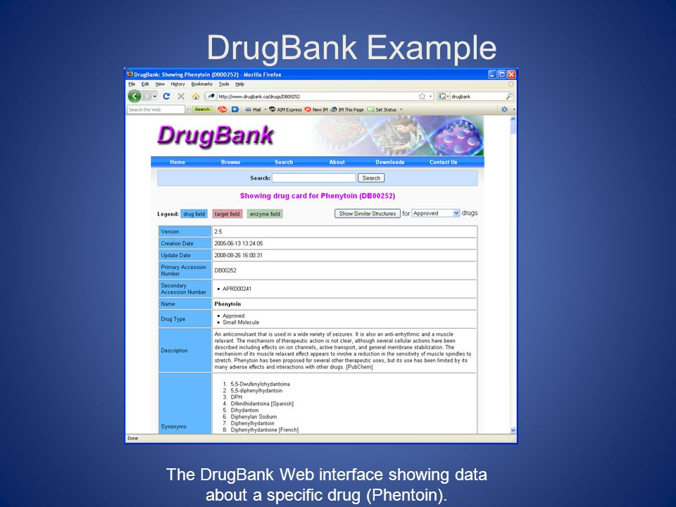 DrugBank Example (continued) This DISCO Interoperation file specifies how to extract data from the DrugBank Web interface automatically.