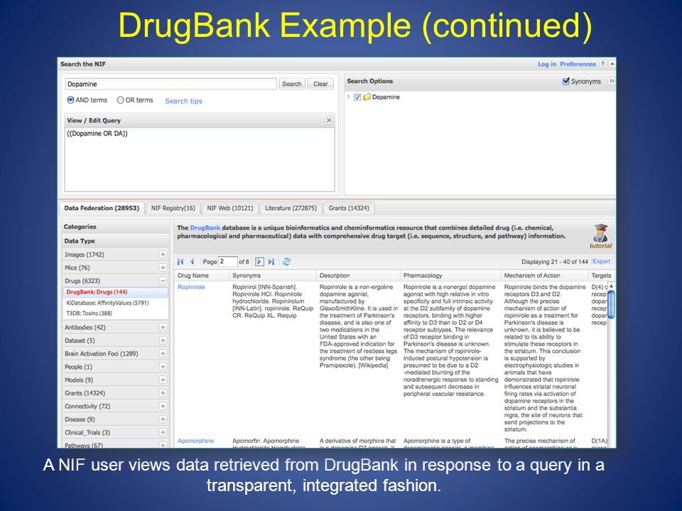DrugBank Example (continued) A NIF user views data retrieved from DrugBank in response to a query in a transparent, integrated fashion.