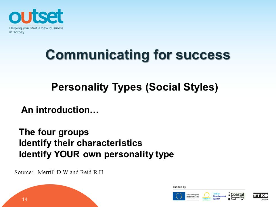 14 Communicating for success Personality Types (Social Styles) An introduction… The four groups Identify their characteristics Identify YOUR own personality type Source: Merrill D W and Reid R H