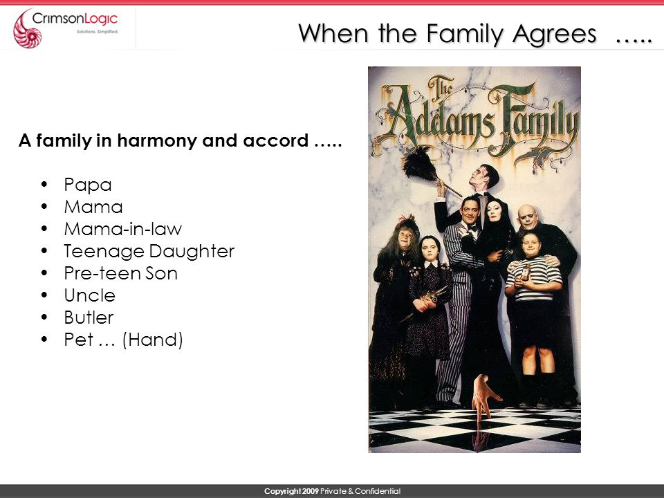 Copyright 2009 Private & Confidential When the Family Agrees …..