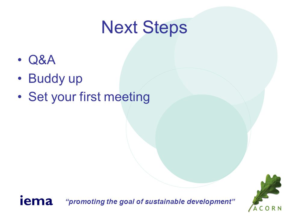 promoting the goal of sustainable development iema Next Steps Q&A Buddy up Set your first meeting