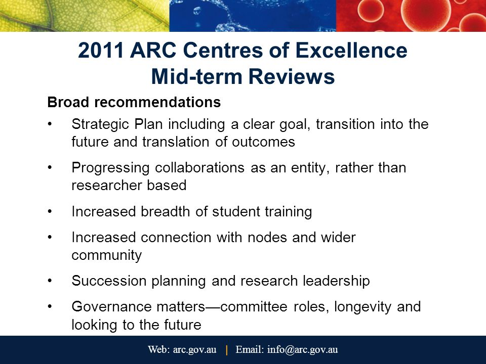 2011 ARC Centres of Excellence Mid-term Reviews Broad recommendations Strategic Plan including a clear goal, transition into the future and translation of outcomes Progressing collaborations as an entity, rather than researcher based Increased breadth of student training Increased connection with nodes and wider community Succession planning and research leadership Governance matters—committee roles, longevity and looking to the future