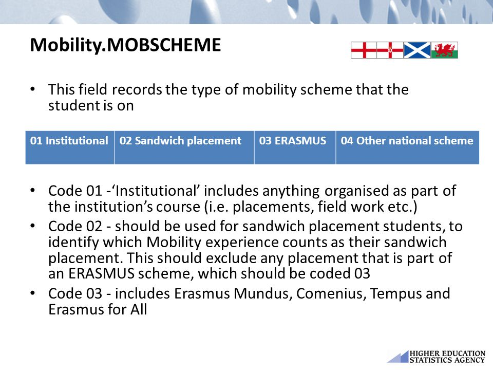 Mobility.MOBSCHEME This field records the type of mobility scheme that the student is on Code 01 -'Institutional' includes anything organised as part of the institution's course (i.e.