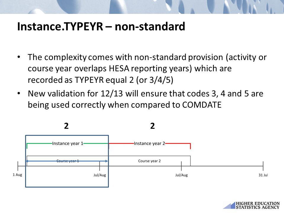 Instance.TYPEYR – non-standard The complexity comes with non-standard provision (activity or course year overlaps HESA reporting years) which are recorded as TYPEYR equal 2 (or 3/4/5) New validation for 12/13 will ensure that codes 3, 4 and 5 are being used correctly when compared to COMDATE 22