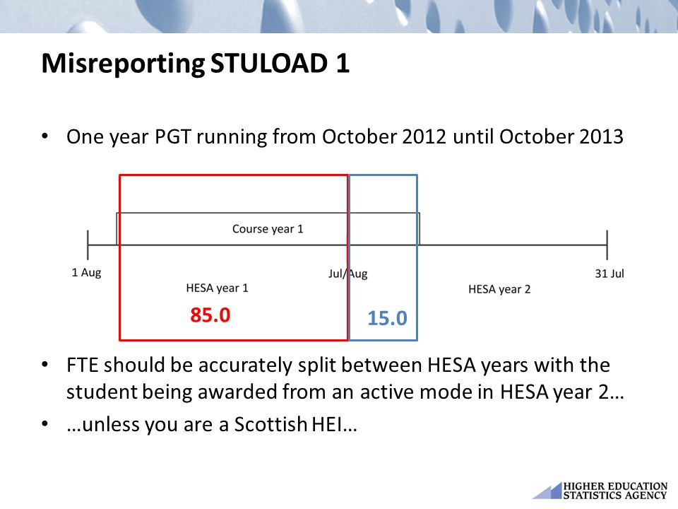 Misreporting STULOAD 1 One year PGT running from October 2012 until October 2013 FTE should be accurately split between HESA years with the student being awarded from an active mode in HESA year 2… …unless you are a Scottish HEI… 85.0 15.0