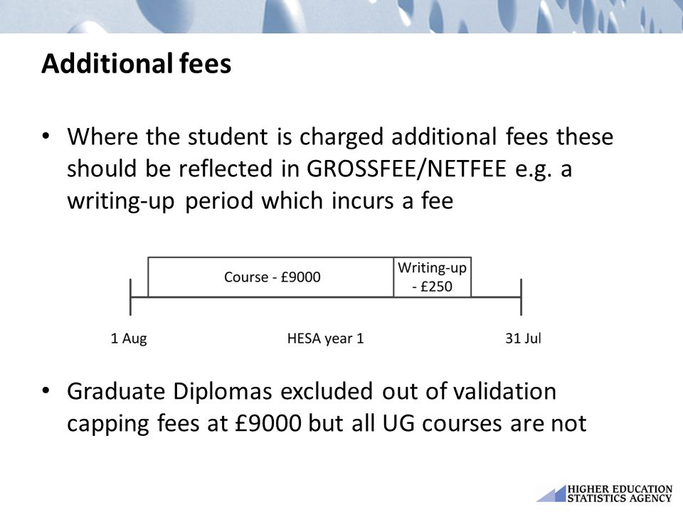 Additional fees Where the student is charged additional fees these should be reflected in GROSSFEE/NETFEE e.g.
