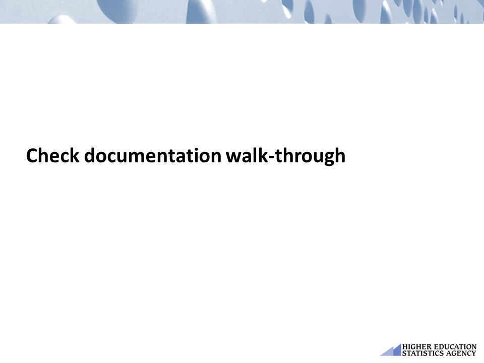 Check documentation walk-through