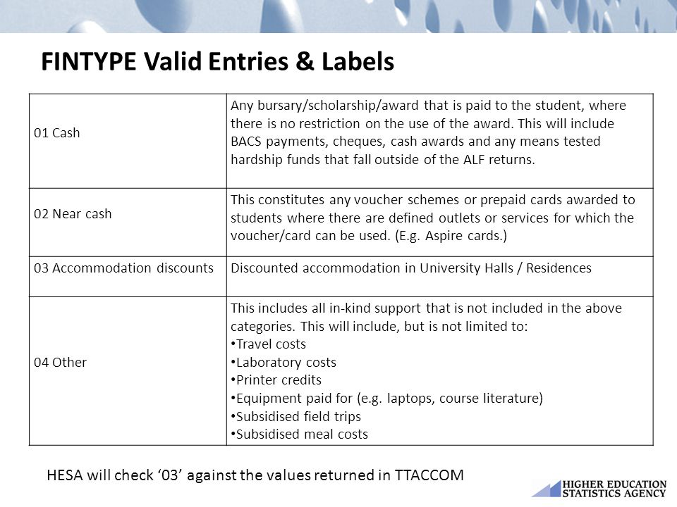 FINTYPE Valid Entries & Labels 01 Cash Any bursary/scholarship/award that is paid to the student, where there is no restriction on the use of the award.
