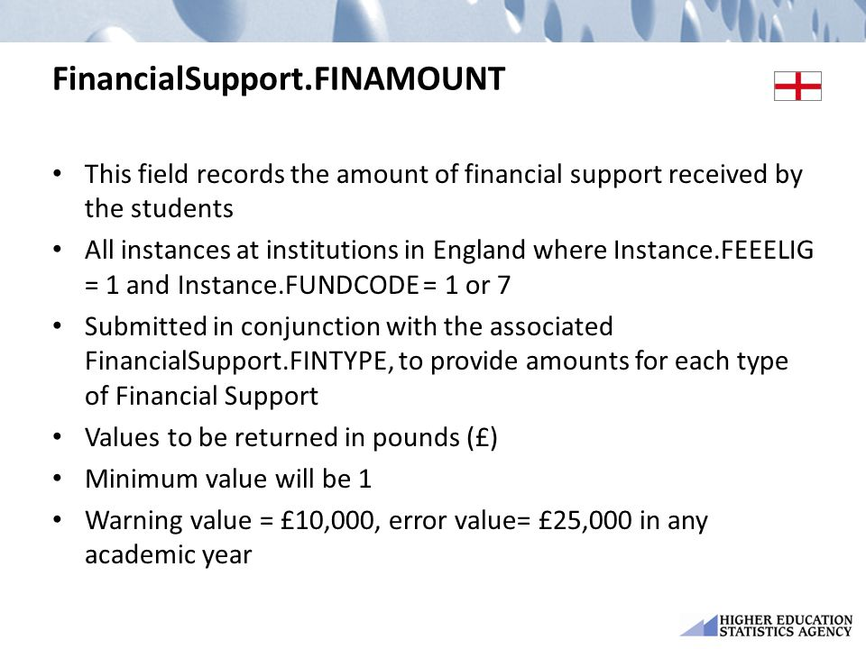 FinancialSupport.FINAMOUNT This field records the amount of financial support received by the students All instances at institutions in England where Instance.FEEELIG = 1 and Instance.FUNDCODE = 1 or 7 Submitted in conjunction with the associated FinancialSupport.FINTYPE, to provide amounts for each type of Financial Support Values to be returned in pounds (£) Minimum value will be 1 Warning value = £10,000, error value= £25,000 in any academic year