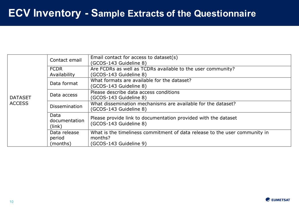 10 ECV Inventory - S ample Extracts of the Questionnaire