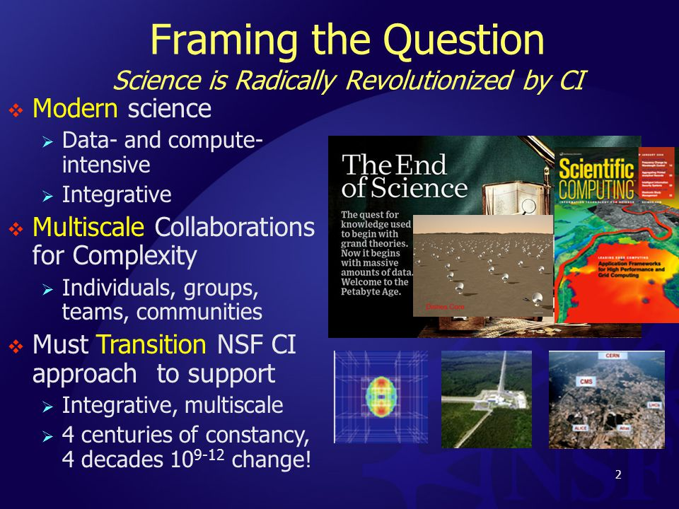 Framing the Question Science is Radically Revolutionized by CI  Modern science  Data- and compute- intensive  Integrative  Multiscale Collaborations for Complexity  Individuals, groups, teams, communities  Must Transition NSF CI approach to support  Integrative, multiscale  4 centuries of constancy, 4 decades 10 9-12 change.