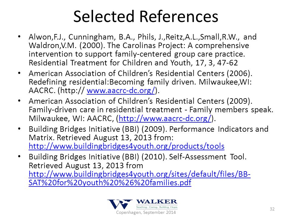 Selected References Alwon,F.J., Cunningham, B.A., Phils, J.,Reitz,A.L.,Small,R.W., and Waldron,V.M. (2000). The Carolinas Project: A comprehensive int