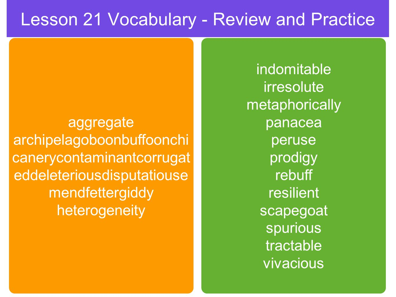Lesson 21 Vocabulary - Review and Practice aggregate archipelagoboonbuffoonchi canerycontaminantcorrugat eddeleteriousdisputatiouse mendfettergiddy heterogeneity indomitable irresolute metaphorically panacea peruse prodigy rebuff resilient scapegoat spurious tractable vivacious