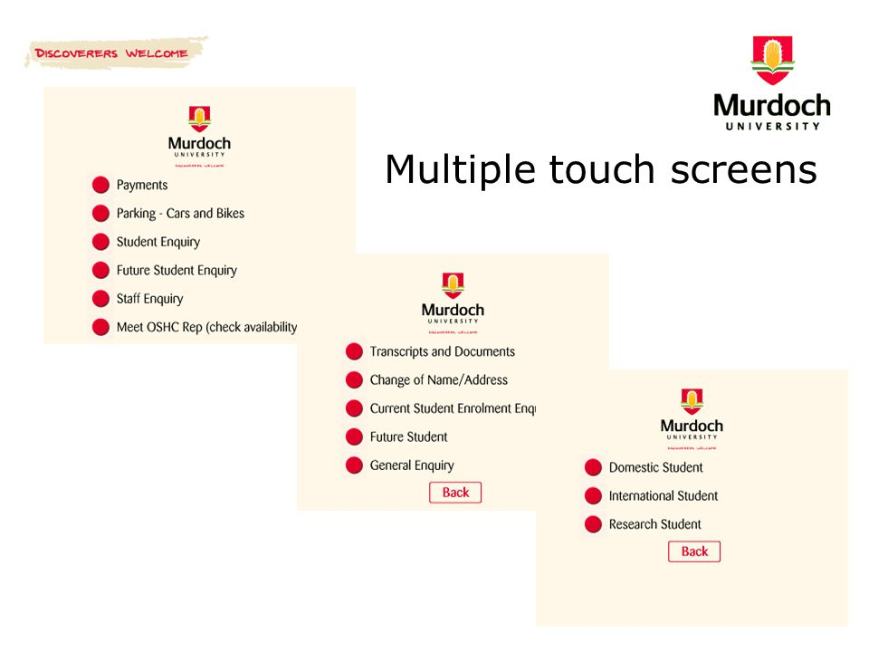 Multiple touch screens