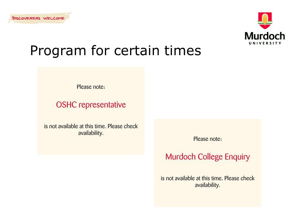 Program for certain times