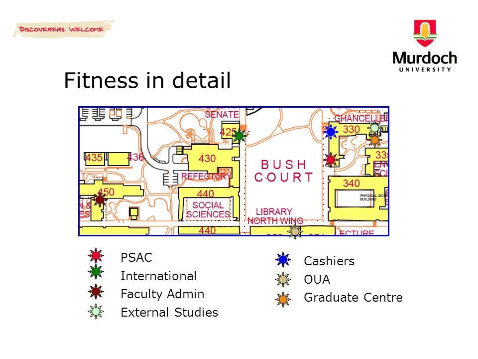 Fitness in detail PSAC International Faculty Admin External Studies Cashiers OUA Graduate Centre