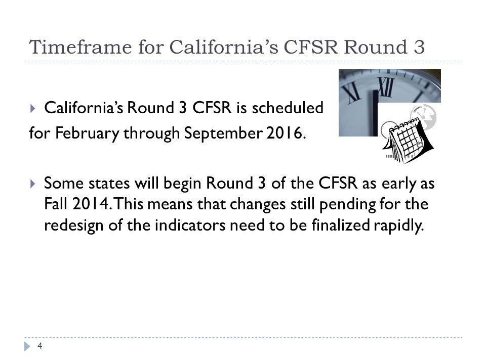 Timeframe for California's CFSR Round 3  California's Round 3 CFSR is scheduled for February through September 2016.