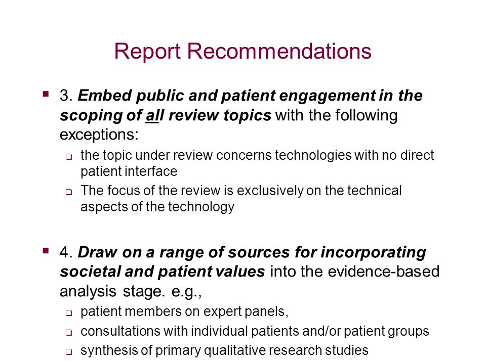 Report Recommendations  3.