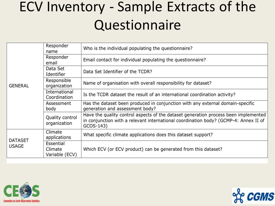 ECV Inventory - Sample Extracts of the Questionnaire