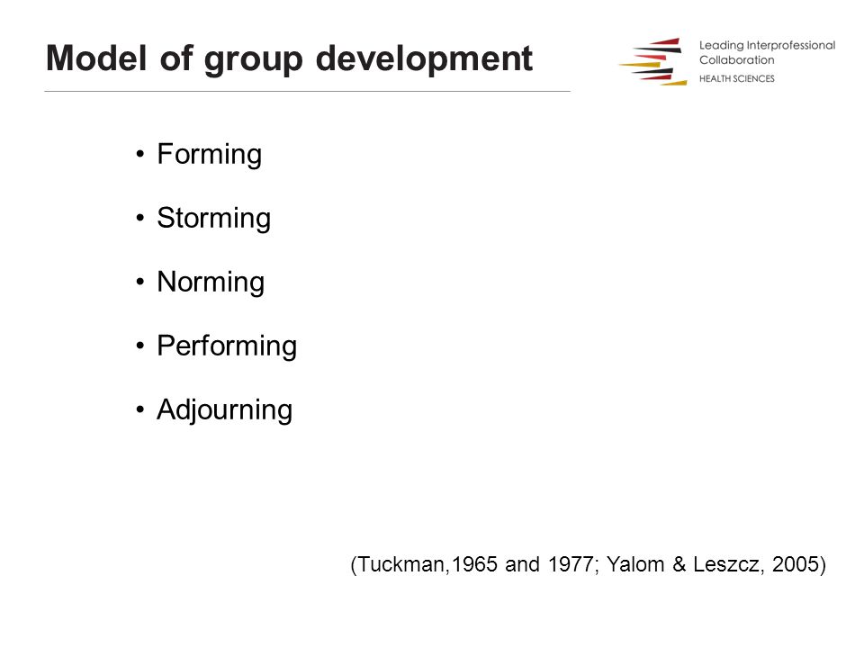 Model of group development Forming Storming Norming Performing Adjourning (Tuckman,1965 and 1977; Yalom & Leszcz, 2005)