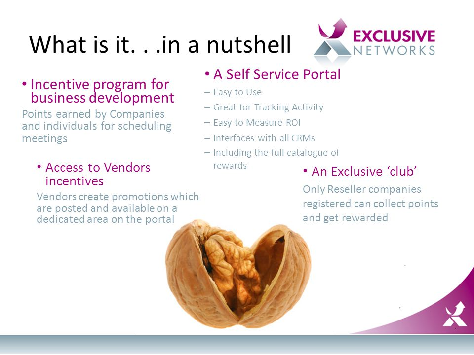 What is it...in a nutshell Incentive program for business development Points earned by Companies and individuals for scheduling meetings An Exclusive