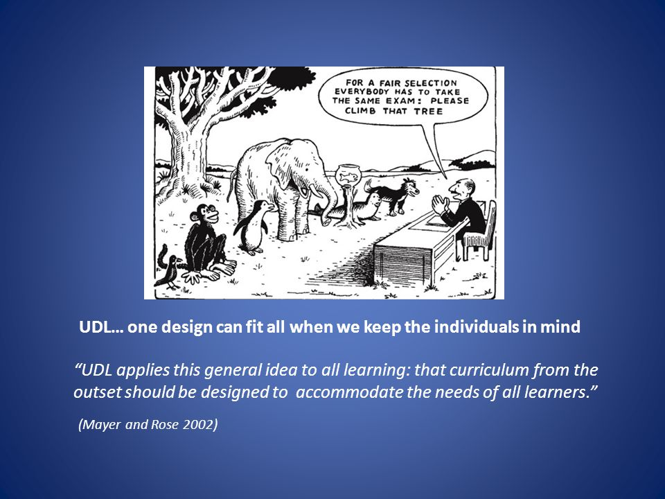 "UDL… one design can fit all when we keep the individuals in mind ""UDL applies this general idea to all learning: that curriculum from the outset shoul"