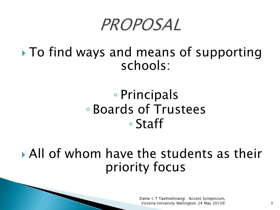 To find ways and means of supporting schools: ◦ Principals ◦ Boards of Trustees ◦ Staff  All of whom have the students as their priority focus 3 Da
