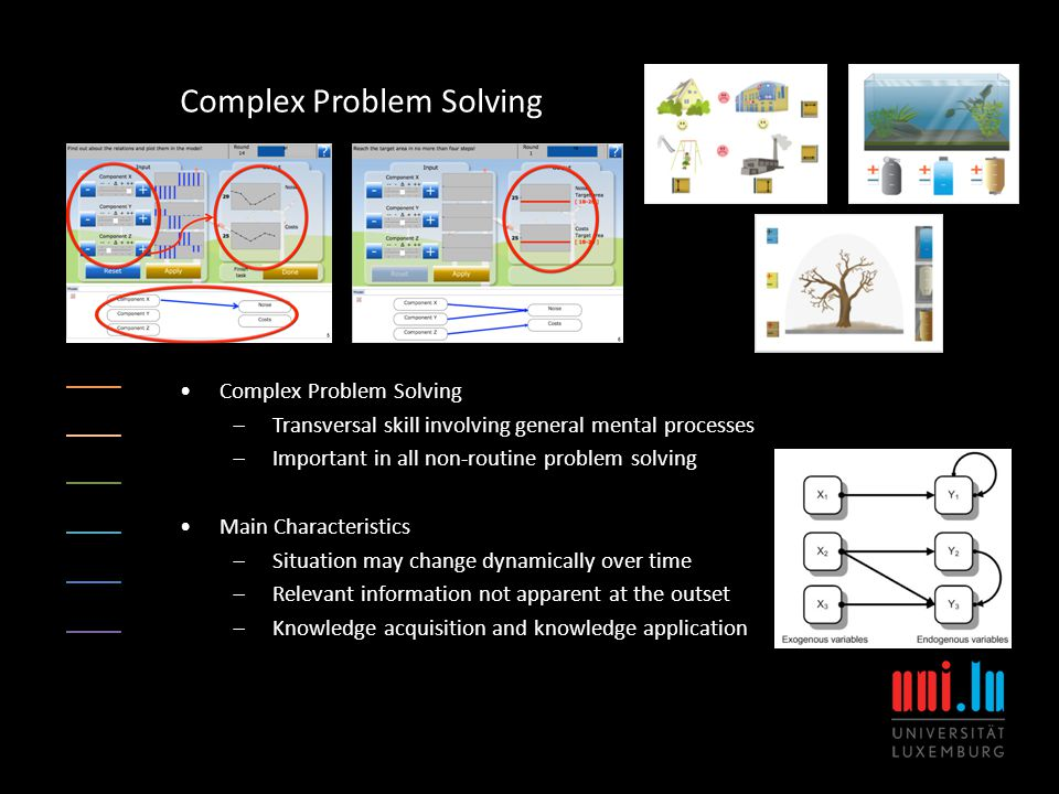 Complex Problem Solving  Transversal skill involving general mental processes  Important in all non-routine problem solving Main Characteristics  Situation may change dynamically over time  Relevant information not apparent at the outset  Knowledge acquisition and knowledge application