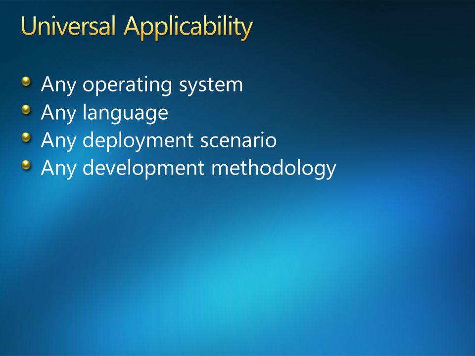 Any operating system Any language Any deployment scenario Any development methodology