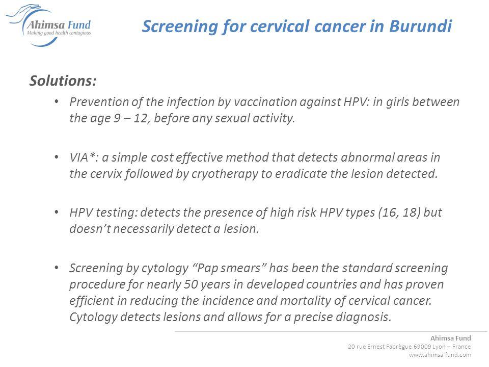 Ahimsa Fund 20 rue Ernest Fabrègue 69009 Lyon – France www.ahimsa-fund.com Screening for cervical cancer in Burundi WHO guidelines: