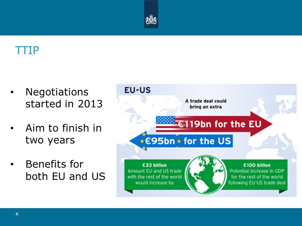 TTIP 8 Negotiations started in 2013 Aim to finish in two years Benefits for both EU and US