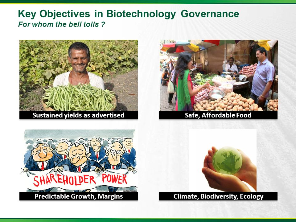 Key Objectives in Biotechnology Governance For whom the bell tolls ? Sustained yields as advertised Safe, Affordable Food Predictable Growth, Margins