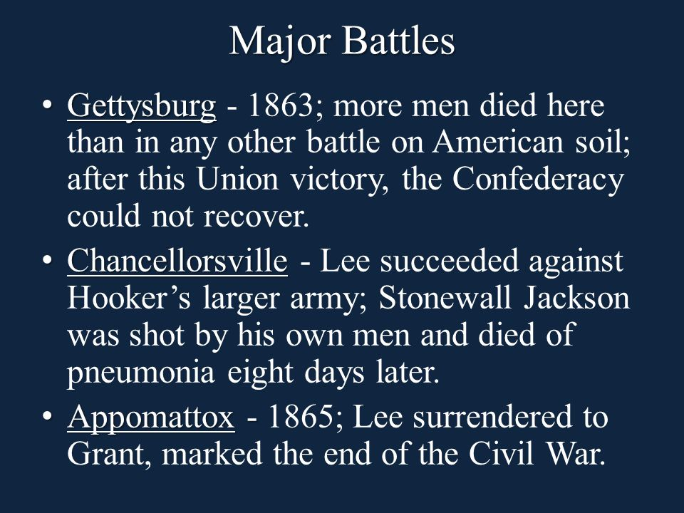 Gettysburg Gettysburg - 1863; more men died here than in any other battle on American soil; after this Union victory, the Confederacy could not recover.