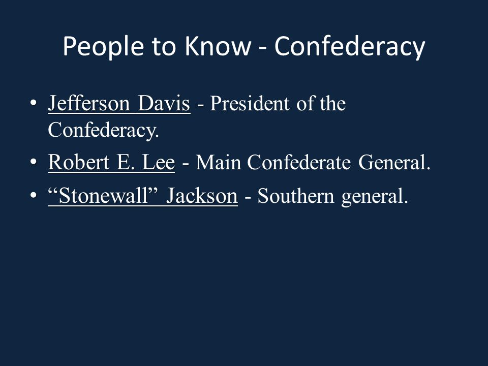 People to Know - Confederacy Jefferson Davis - Jefferson Davis - President of the Confederacy.