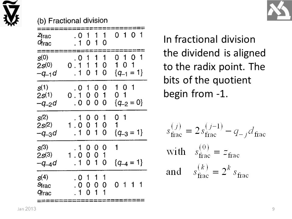 9 In fractional division the dividend is aligned to the radix point. The bits of the quotient begin from -1.