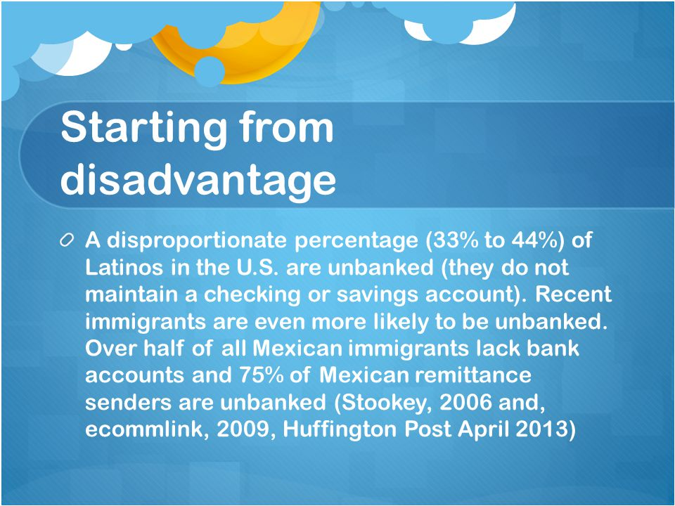 Starting from disadvantage A disproportionate percentage (33% to 44%) of Latinos in the U.S.