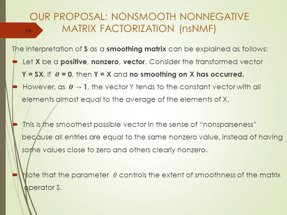 OUR PROPOSAL: NONSMOOTH NONNEGATIVE MATRIX FACTORIZATION (nsNMF) 18