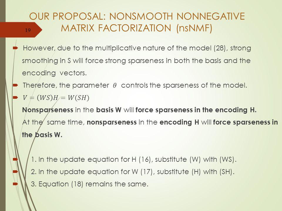 OUR PROPOSAL: NONSMOOTH NONNEGATIVE MATRIX FACTORIZATION (nsNMF) 19