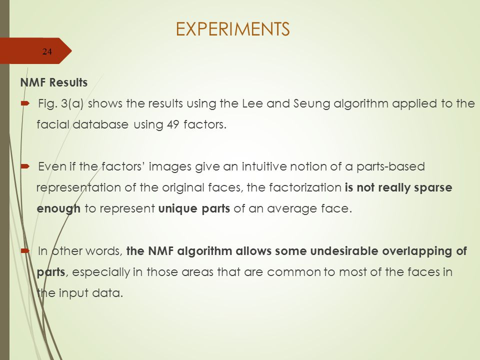 EXPERIMENTS NMF Results  Fig.