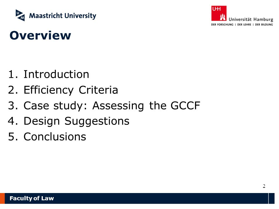 Faculty of Law Overview 1.Introduction 2.Efficiency Criteria 3.Case study: Assessing the GCCF 4.Design Suggestions 5.Conclusions 2