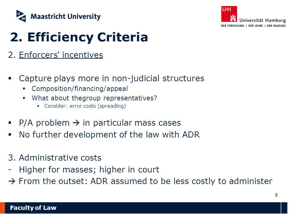 Faculty of Law 2. Efficiency Criteria 2.