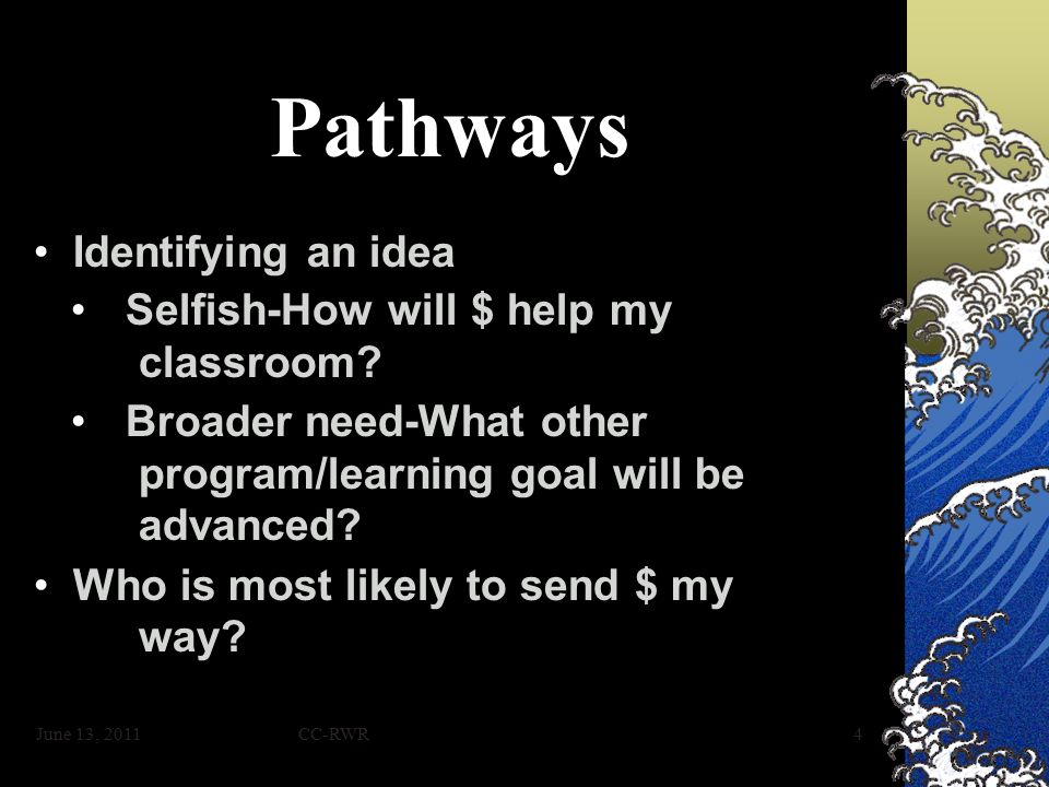 CC-RWR4 Pathways Identifying an ideaIdentifying an idea Selfish-How will $ help my classroom Selfish-How will $ help my classroom.